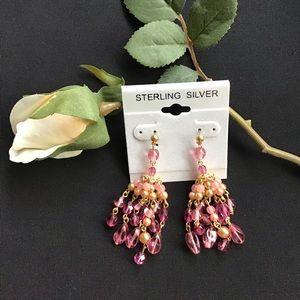 3/$15 SALE- Pink Chandelier Earrings
